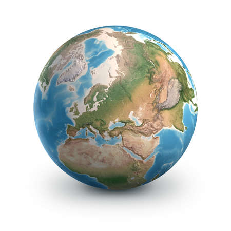 Planet Earth globe, isolated on white. Geography of the world from space, focused on Europe and Asia - 3D illustration 免版税图像
