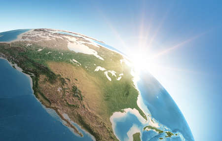 Sun shining over a high detailed view of Planet Earth, focused on North America, USA and Canada. 3D illustration