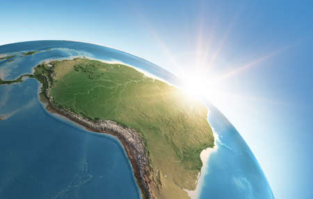 Sun shining over a high detailed view of Planet Earth, focused on South America, Amazon rainforest and Brazil. 3D illustration