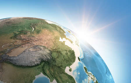Sun shining over a high detailed view of Planet Earth, focused on East Asia, China, Himalayas and Tibet. 3D illustration