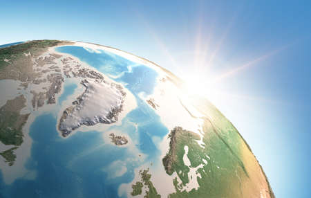 Sun shining over a high detailed view of Planet Earth, focused on North Pole, Greenland and Arctic Ocean. 3D illustration - 免版税图像