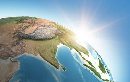 Sun shining over a high detailed view of Planet Earth, focused on Asia, India, Himalayas and Tibet. 3D illustration - Elements of this image furnished by NASA