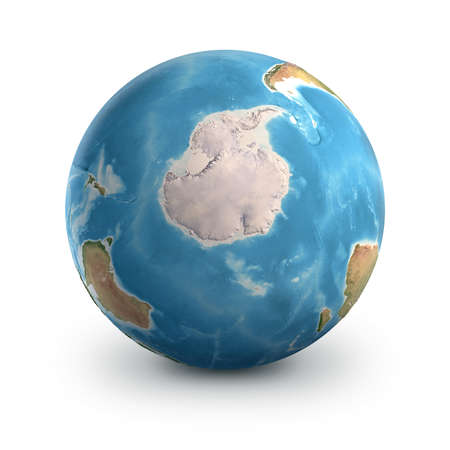 Planet Earth globe, isolated on white. Geography of the world from space, focused on South Pole and Antarctica - 3D illustration, elements of this image furnished by NASA. 免版税图像