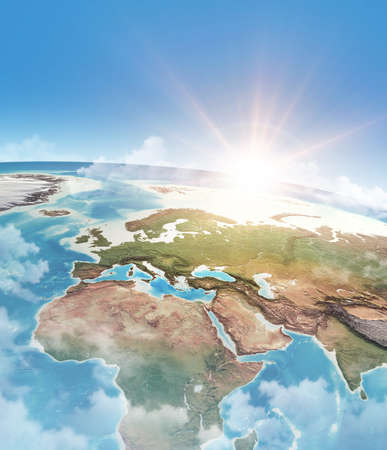 Sun shining through clouds, in blue sky, over a high detailed satellite view of Planet Earth. 3D illustration