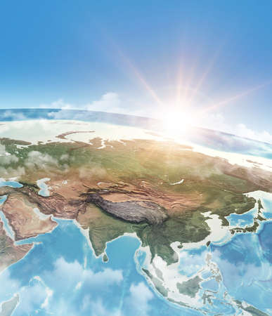 Sun shining through clouds, in blue sky, over a high detailed satellite view of Planet Earth, focused on Asia. 3D illustration