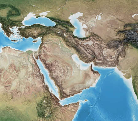 Physical map of Middle East, with high resolution details. Flattened satellite view of Planet Earth, its geography and topography. 3D illustration