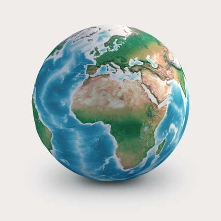 Planet Earth globe. Geography of the world from space, focused on Europe, Africa and Middle East - 3D illustration