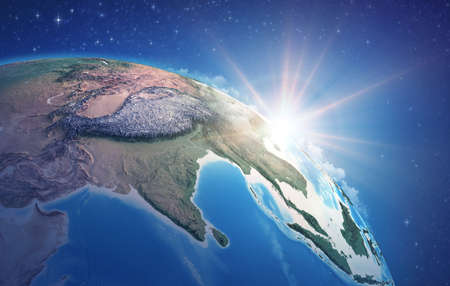 Sunrise through clouds, upon a high detailed satellite view of Planet Earth, focused on South Asia, Himalayas and India. 3D illustration