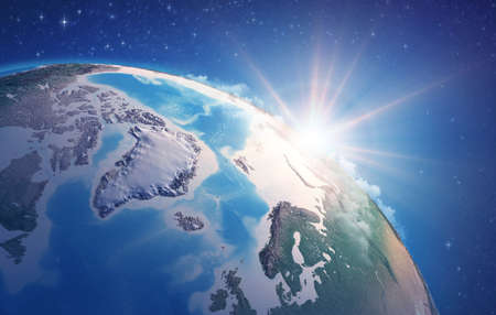 Sunrise through clouds, upon a high detailed satellite view of Planet Earth, focused on North Pole, Arctic Ocean and Greenland. 3D illustration