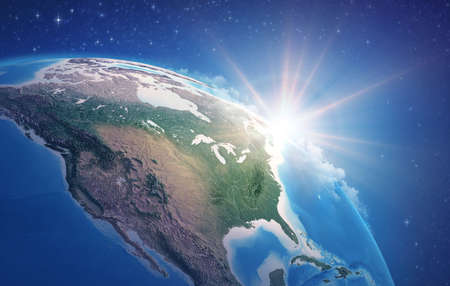 Sunrise through clouds, upon a high detailed satellite view of Planet Earth, focused on North America, USA and Canada. 3D illustration 免版税图像