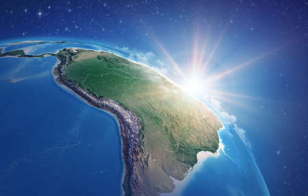 Sunrise through clouds, upon a high detailed satellite view of Planet Earth, focused on South America, Amazon rainforest and Brazil. 3D illustration