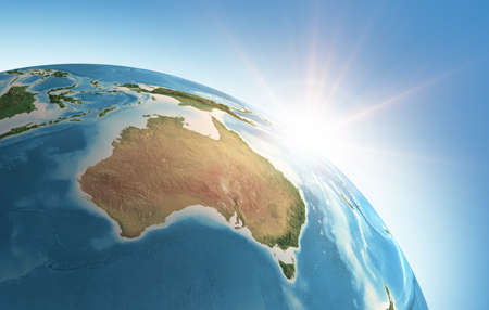 Sun shining over a high detailed view of Planet Earth, focused on Australia. 3D illustration