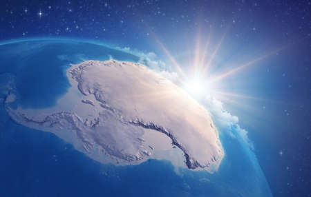 Sunrise through clouds, upon a high detailed satellite view of Planet Earth, focused on South Pole, Antarctic. 3D illustration