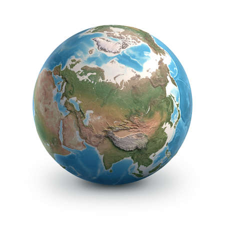Planet Earth globe, isolated on white. Geography of the world from space, focused on Russia and Arctic region - 3D illustration