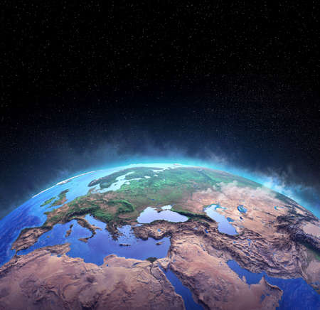 Surface of Planet Earth, high detailed satellite view of the world from space. 3D illustration 免版税图像