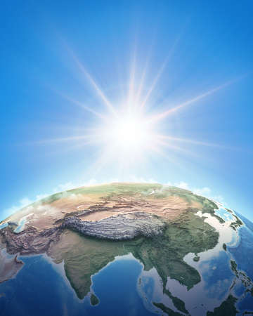 Sun shining over a high detailed view of Planet Earth, focused on East Asia, China and Himalayas. 3D illustration
