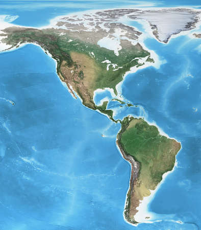 Physical map of America, North, Central and South, with high resolution details. Flattened satellite view of Planet Earth, its geography and topography. 3D illustration 免版税图像