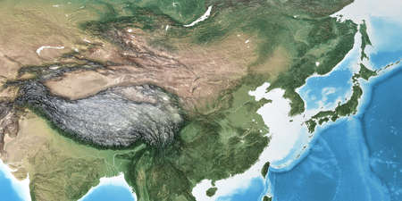 Physical map of East Asia, China, with high resolution details. Flattened satellite view of Planet Earth, its geography and topography. 3D illustration