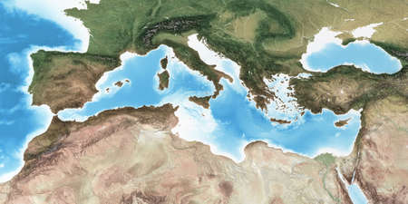 Physical map of Mediterranean region, with high resolution details. Flattened satellite view of Planet Earth and its topography. 3D illustration