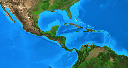 Physical map of Central America and the Caribbean. Detailed flat view of the Planet Earth and its land forms. 3D illustration