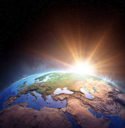 Surface of Planet Earth from space. Sunrise, explosion, impact on the horizon. 3D illustration 免版税图像