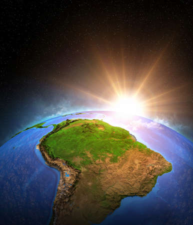 Warm sun shining over Planet Earth, focused on South America. Global warming on Amazon rainforest and Brazil. 3D illustration 免版税图像