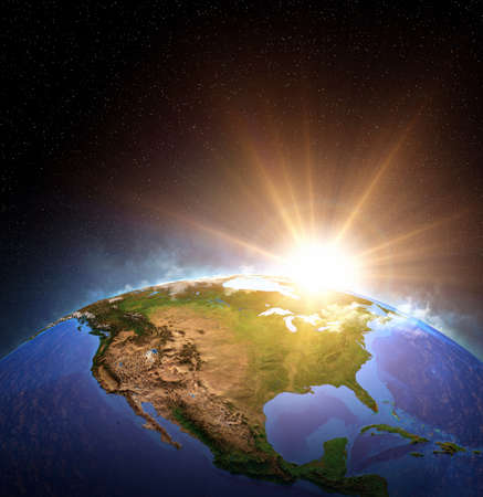 Surface of Planet Earth from space, focused on North America, USA. Sunrise, explosion, impact on the horizon. 3D illustration