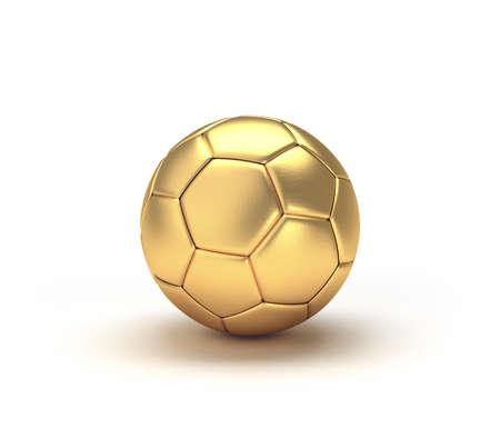 Gold soccer ball isolated on white background. 3d illustration. 免版税图像