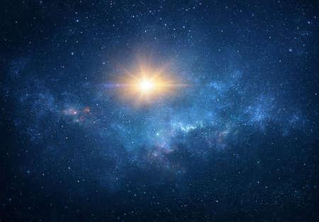 Sun, star light, explosion, glow, burst, blast into deep space. Cosmic nebula, galaxy, milky way in Universe.