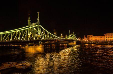 The Liberty Bidge in Budapest Illuminated at Night