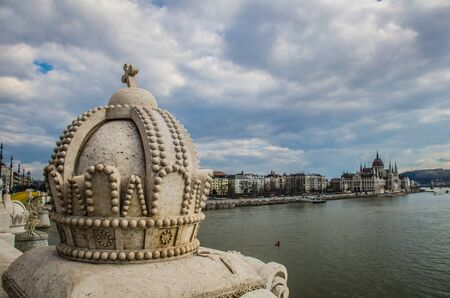 The Crown of Saint Stephen The Holy Crown of Hungary on Margaret bridge in Budapest.