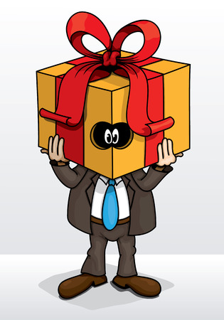 ridicule: Fun cartoon with a man and a gift box