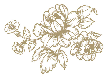 old fashioned: Retro vector pattern flowers old fashioned style Illustration