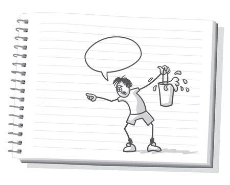 despair: A despair man looking at for helping Illustration