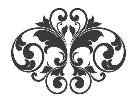 ink art: Isolated scroll floral design element