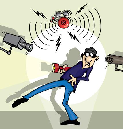 Unpleasant surprise for the thief illustration cartoon Illustration