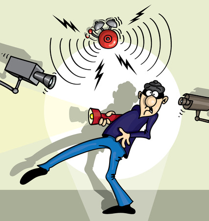 burglar alarm: Unpleasant surprise for the thief illustration cartoon Illustration
