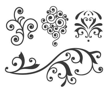 Isolated vector scroll floral design element