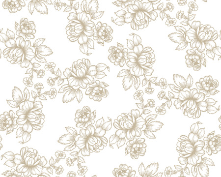 revivalism: Old fashion seamless vector pattern with flowers Illustration