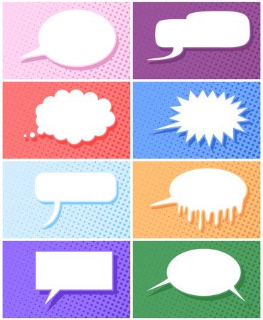 speech: Comic book speech balloon with variations vector illustration Illustration