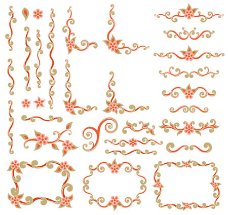 scroll shape: Set of design element with scroll shape flowers and leaves Illustration