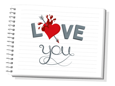 Notebook with beautiful illustration I love you, vector graphic design Vector