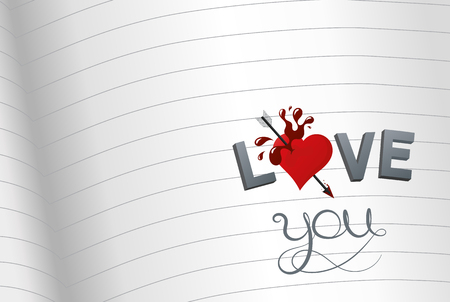 Notebook with beautiful illustration I love you, vector graphic design