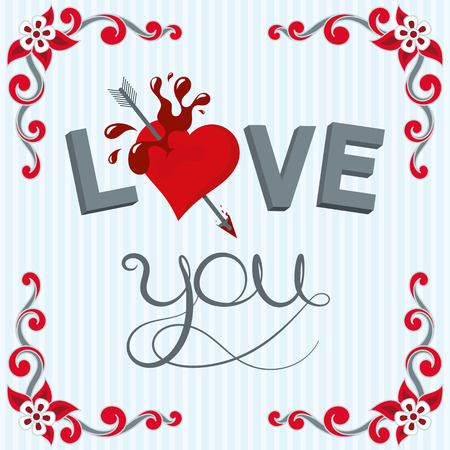 Lettering illustration love youand heart with stripes background and scroll shape corner border