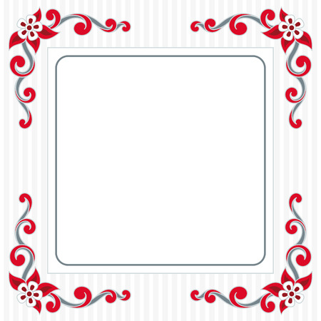 scroll shape: Decoration greeting card with scroll shape flawer and striped background Illustration