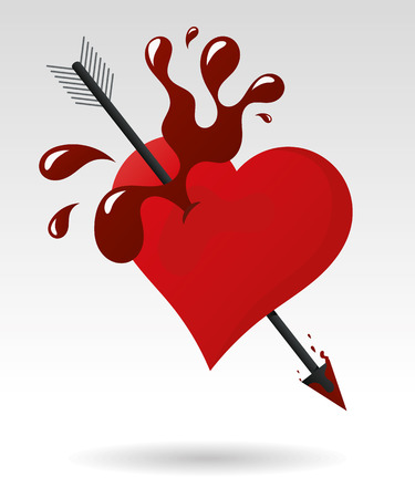 Arrow pierces a heart pops blood, vector illustration Vector