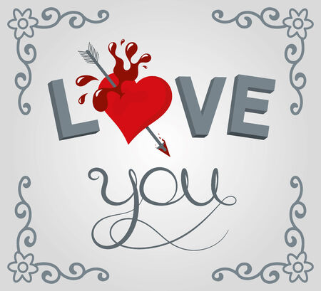 i nobody: Lettering illustration love youand heart with stripes background and scroll shape corner border