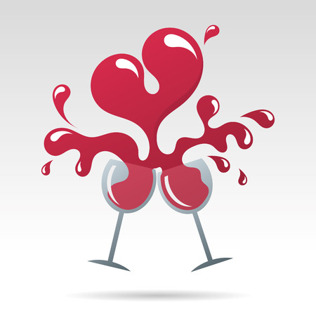 eros: Toast to happy valentines day and heart shape wine