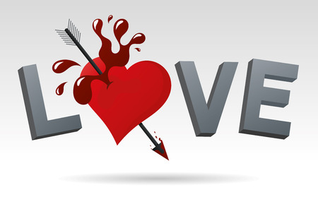 love hurts: Traditional style vector illustration loving