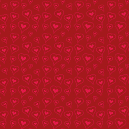 Seamless pattern with heart shapes and scroll lines vector illustration Vector